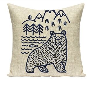 Other - Linen burlap bear woodland pillow case zips nordic